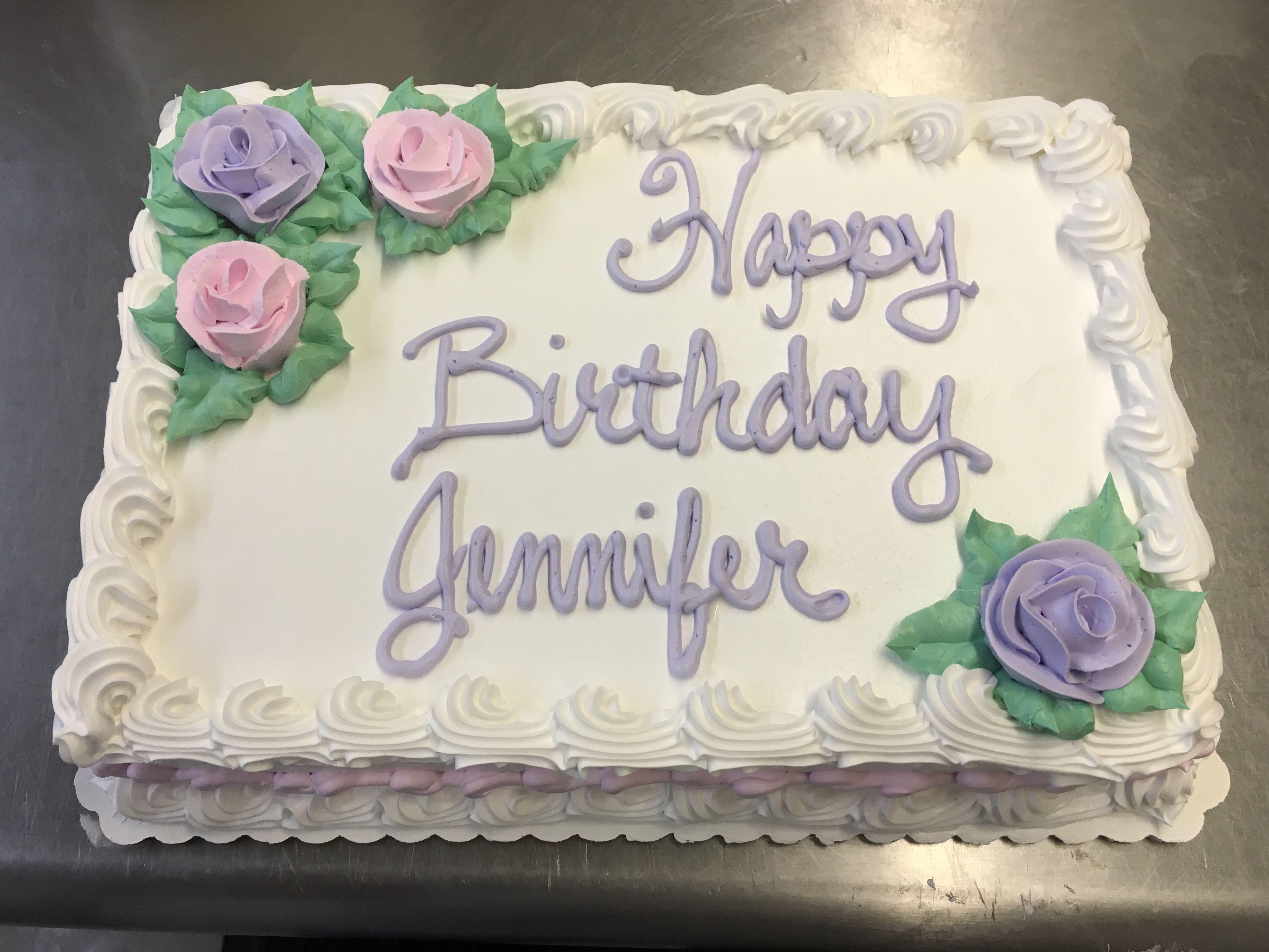Birthday Cake sheet cake whipped icing roses Precious Memories