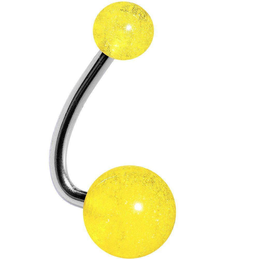 Neon Vivid Yellow Acrylic J Bar Belly Ring Products Belly Rings