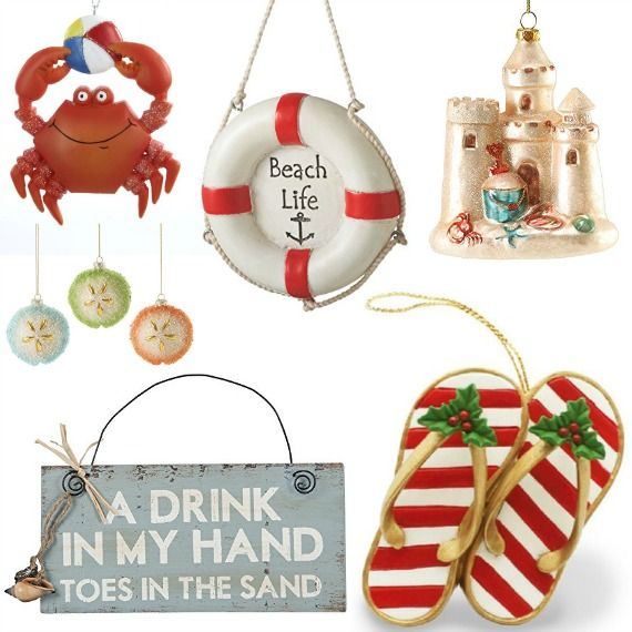 Find fun beach Christmas ornaments at my Amazon   astore