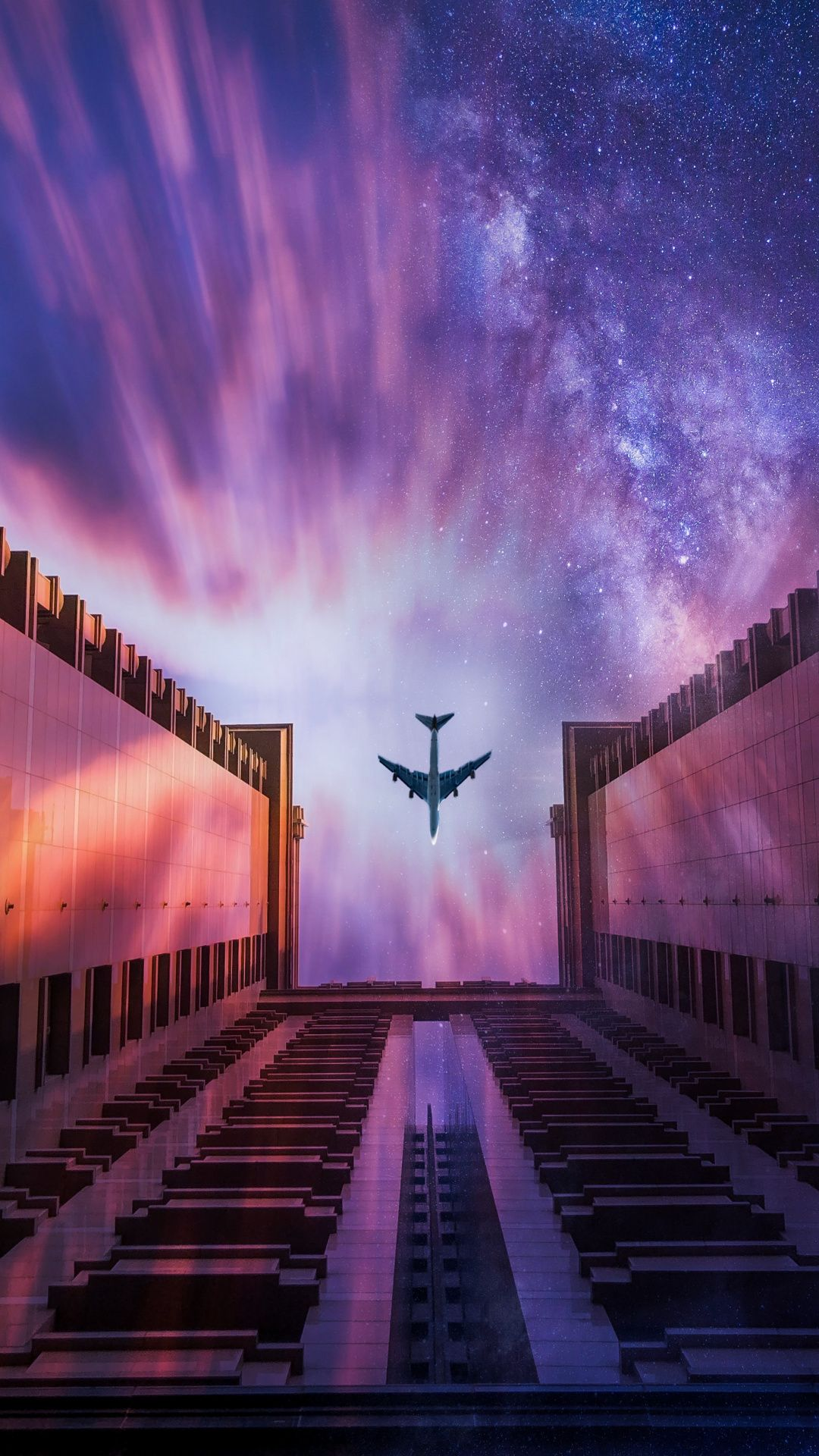 1080x1920 Airplane, sunset, sky, buildings wallpaper