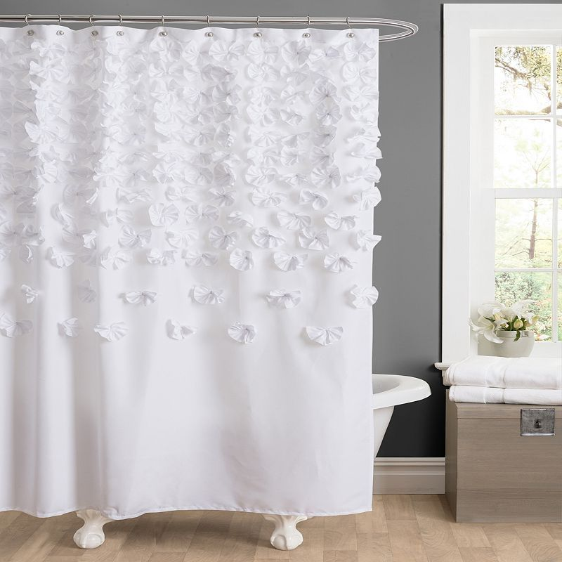 Park B Smith Watershed Pouf Water Repellent Fabric Shower Curtain White