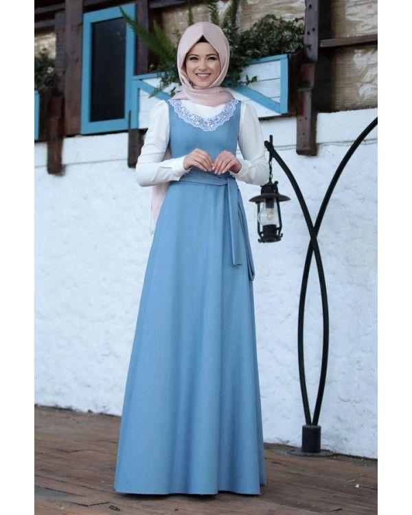 Dantel Jile Elbise Kot Elbise Giyim Islami Giyim