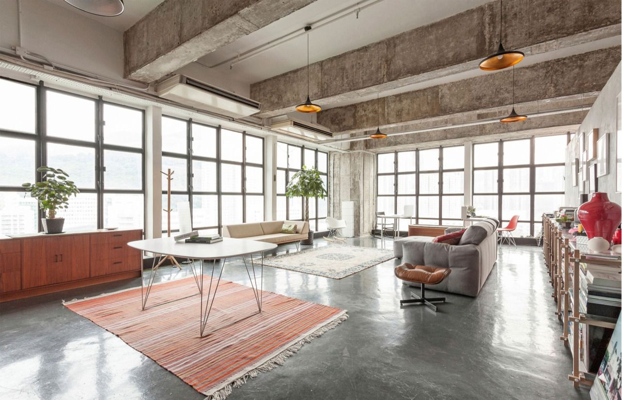 Loft uses contrasting polished and rough concrete to enhance the ...