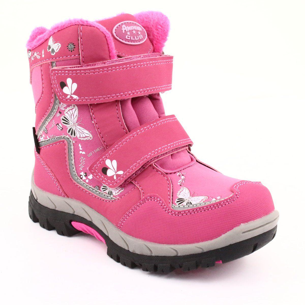 American Club Kozaki Z Membrana Hl27 Motyle Rozowe Biale Czarne Boots Childrens Boots Girls Shoes