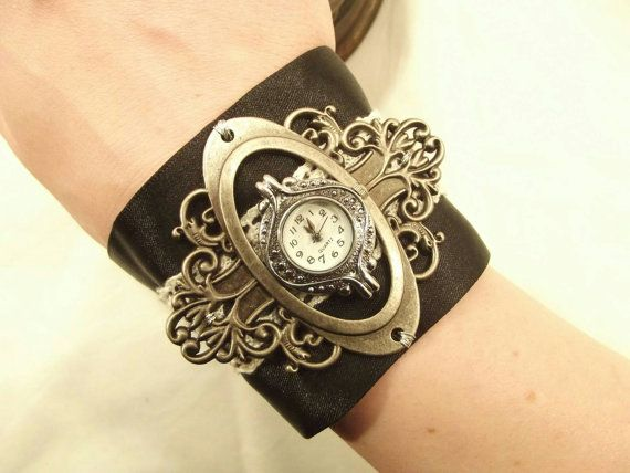 Steampunk watch jewelry Gothic watch jewelry Victorian watch: Handmade Ornate woman's watch antique silver colour ribbon strap FREE P&P UK