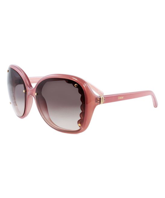 Antiqued Pink Scallop Square Sunglasses