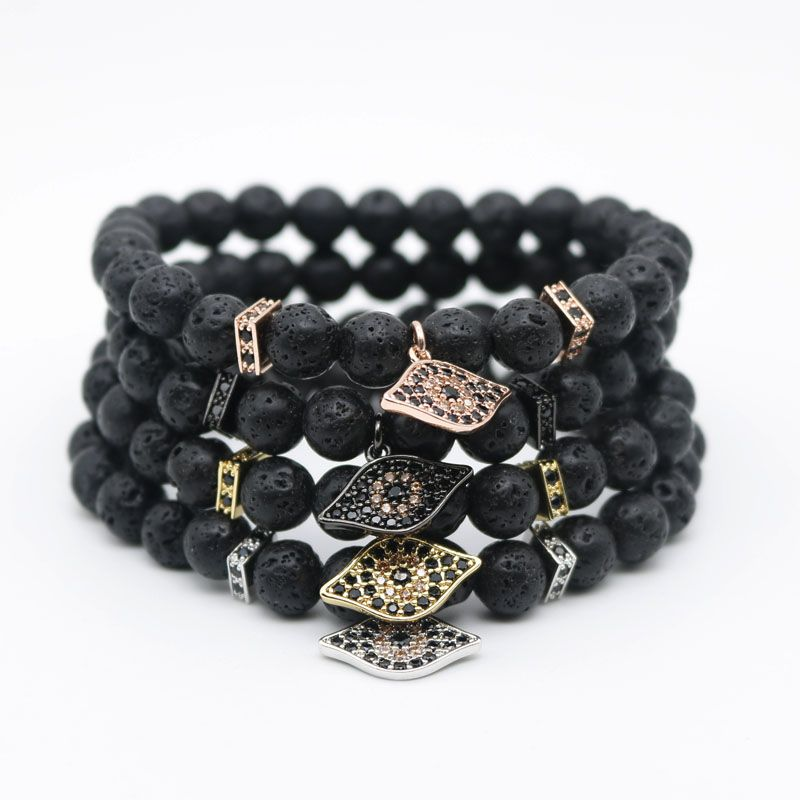 bracelet lava volcano beads animal wolf head fashion men product antique stone