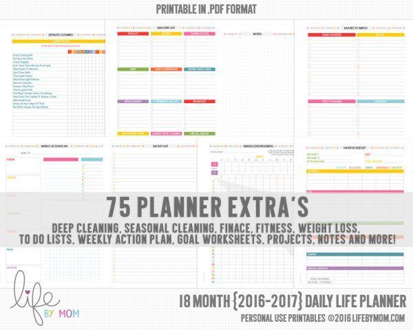 2016-2017 DAILY LIFE PLANNER #printableplanner #diyplanner