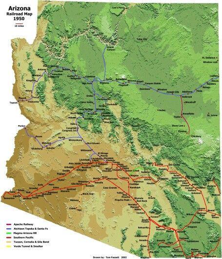 Map Of Arizona Railroads.Az Rr Map 1950 Places Bnsf Railway Model Trains Train