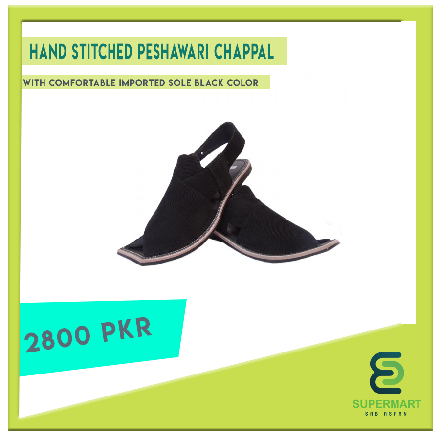 High Quality Sabbar Hand Stitched Peshawari Chappal With Comfortable Imported Sole Black Color Supermartpk Supermartpakist Hand Stitching Black Comfortable