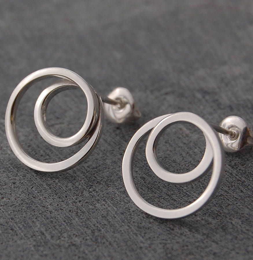 Sterling Silver Whirlpool Stud Earrings