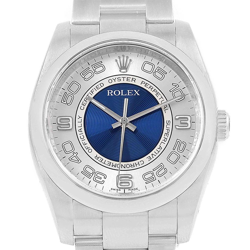 18024 rolex oyster perpetual silver blue concentric dial