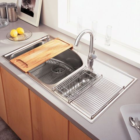 Culinaire Top Mount Dual Level Sink & Drain Board Alternate View Interesting Kitchen Sinks With Drainboards Design Decoration
