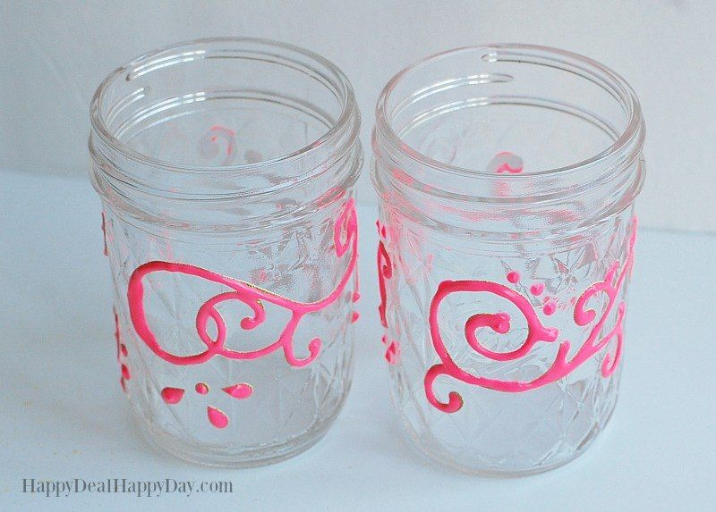 puffy paint to decorate glass jars prior to finish coat painting