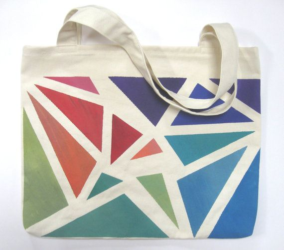 Large Hand Painted Tote Bag Eco Friendly by MusicalColorStudio, $40.00