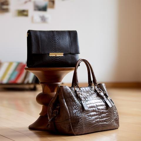 b55c8926886b prada Grey brown beautifully crafted crocodile large bag with Prada brushed  gold metal letters. Front