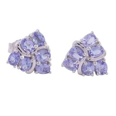 Rhodium plated tanzanite stud earrings, 'Carefree Sparkle'