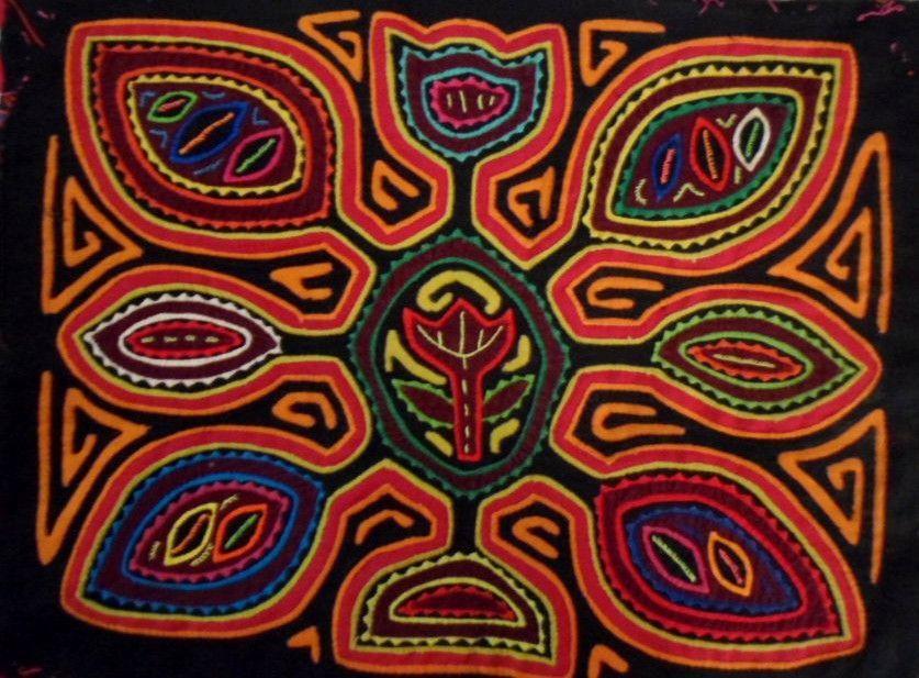 Kuna Indian Hand-Stitch Paddle Mola Art-Panama 16040108L