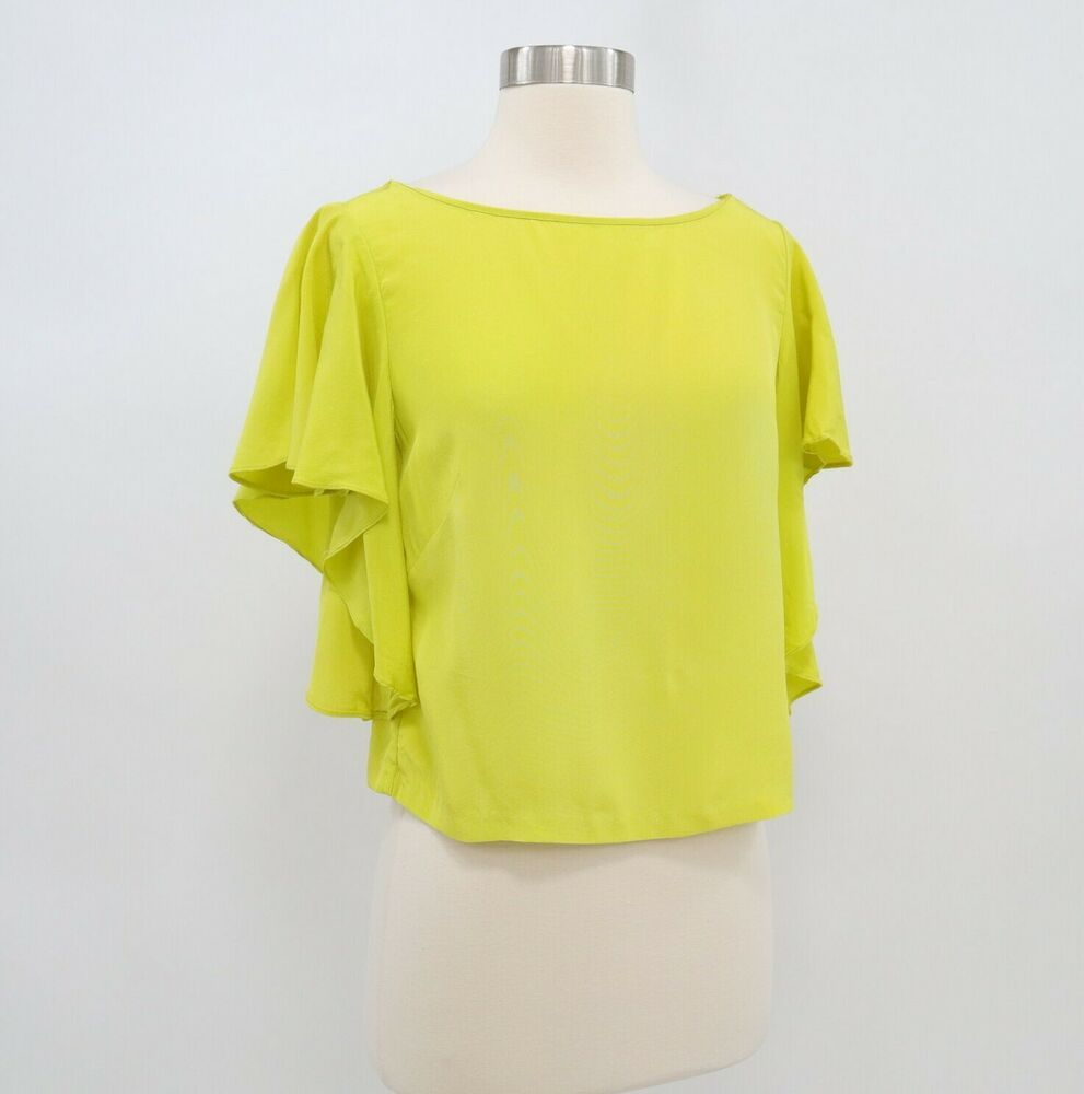 10d281b95047f Milly Top Blouse Shirt Cropped 6 Womens 100% Silk Ruffle Chartreuse  Yellow-Green  MILLY  Blouse  Party
