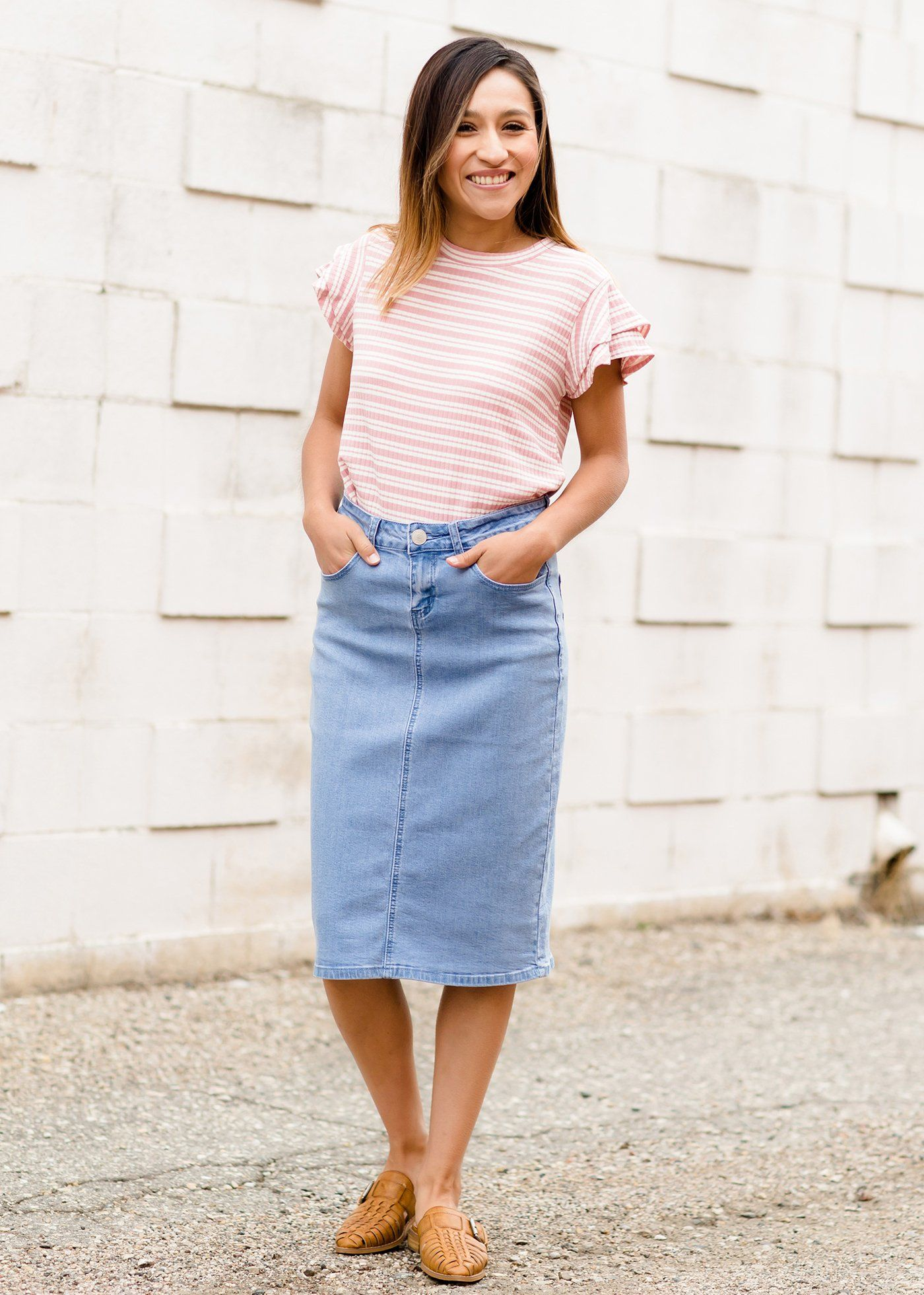 ec241e6a8 Modest Women's Remi Light Denim Midi Skirt | Inherit Clothing Company –  Inherit Co.