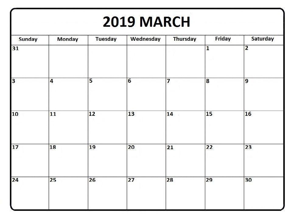 March 2019 Editable Calendar Monthly Calendar Template free