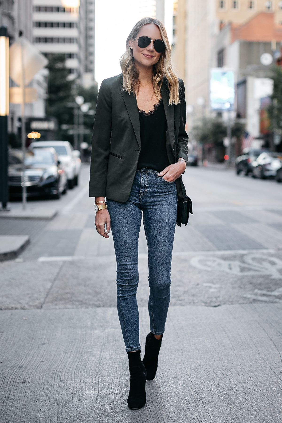 Blonde Woman Wearing Everlane Olive Green Blazer Anine Bing Black Lace Cami  Topshop Denim Skinny Jeans Club Monaco Black Booties Fashion Jackson Dallas  ...