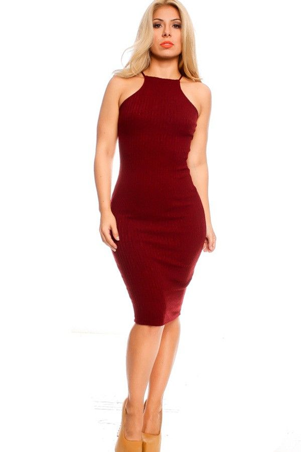 96893468fae3 BURGUNDY HIGH NECKLINE STRETCHY FITTED CASUAL DRESS