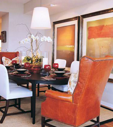 Great dining room with warm earth tones, large artwork and ...