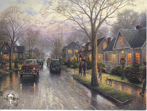 moonlight nap mary's angel hallmark   Thomas Kinkade Hometown Christmas Postcard