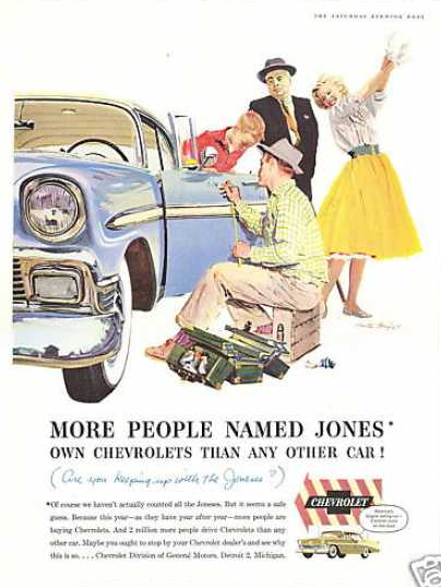 Vintage Chevrolet Ad: Keeping up with the Jones' -- So cute!