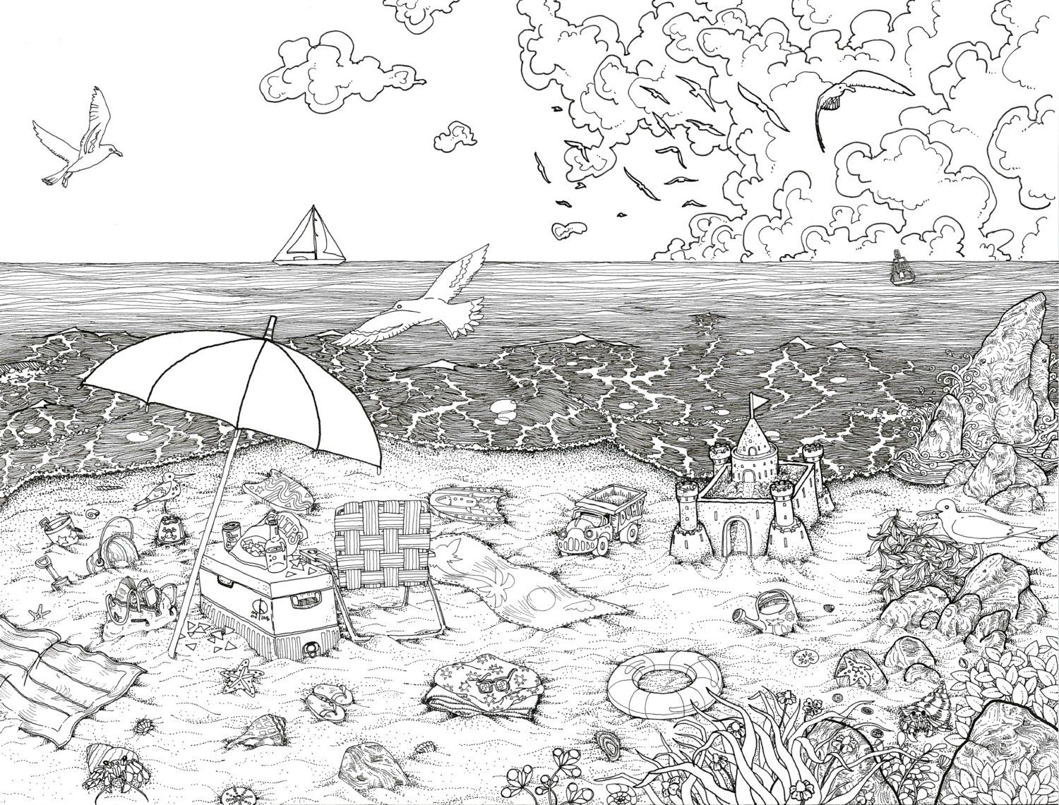 Day At The Beach Pen And Ink Illustration PRINT Black White Coloring Page Fun
