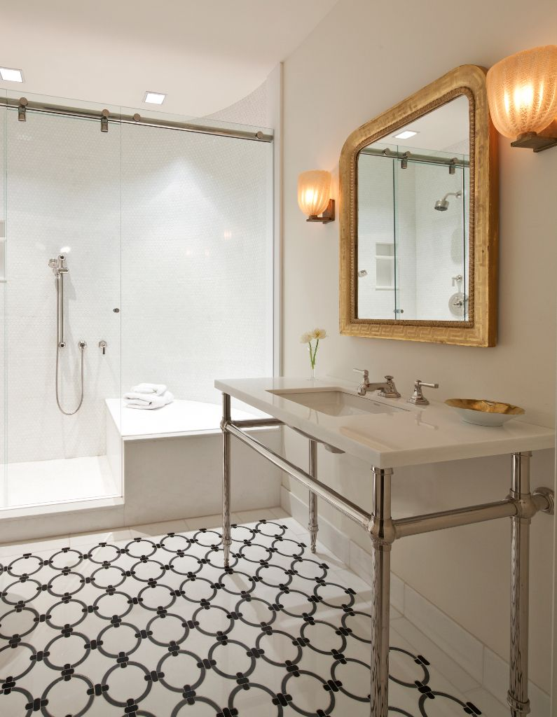 #MuranoGlass sconces and an #antique Louis Philippe mirror really shine in this modern bathroom by ABODE | fern santini design