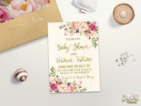 Fl Baby Shower Invitation Printable Boho Invite Gold Foil Typography Bohemian Spring Digital File