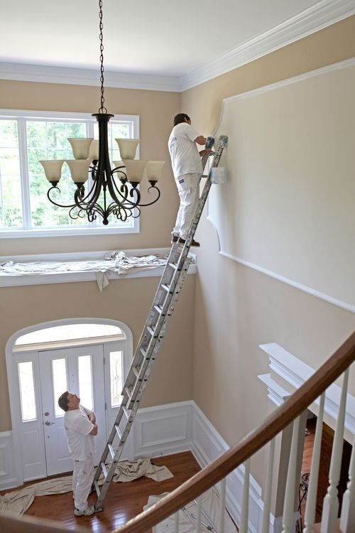 Large Foyer Paint Colors : Benjamin moore lenox tan paint color our family room
