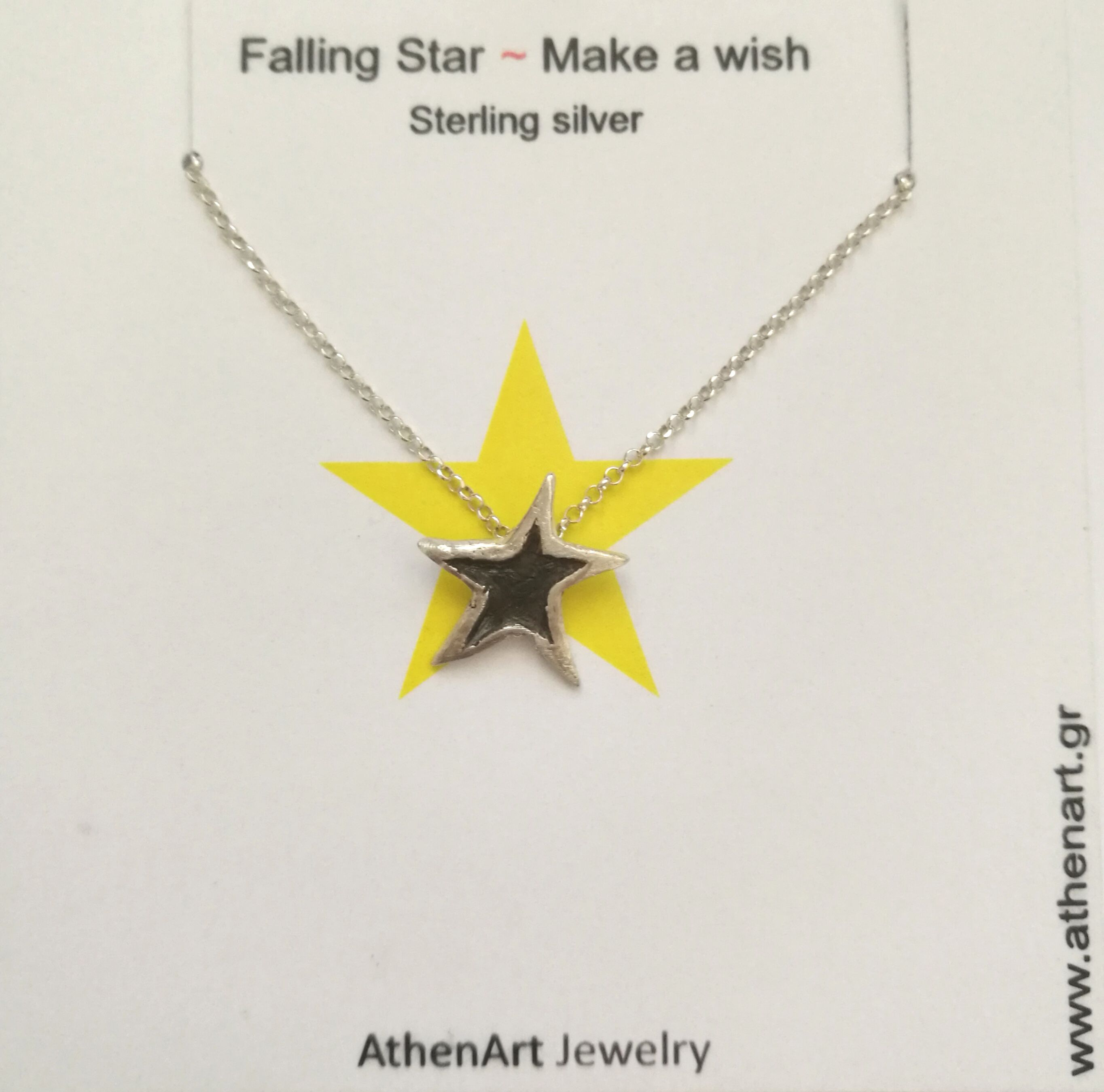 Falling Star Make A Wish Sterling Silver Star Necklace
