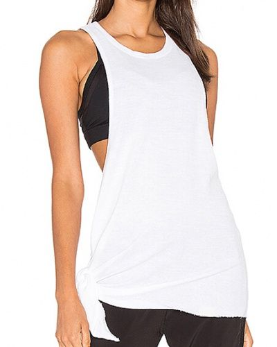 c1c45bf34f4b2a Loose white tank top for women plain long tank tops tie design ...