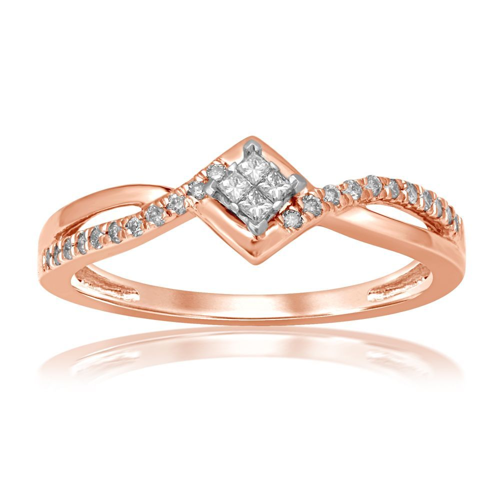 Diamond Quad Plus Promise Ring In 10k Rose Gold Rose Gold Promise Ring Vintage Engagement Rings