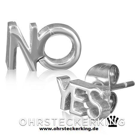 Ohrstecker Yes/No Edelstahl Neu