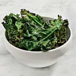 Crispy baked kale chips with miso-garlic dipping sauce