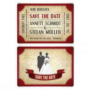 Rot Wie Die Liebe Sind Unsere Save The Date Karten Mit Einem Vintage  Brautpaar