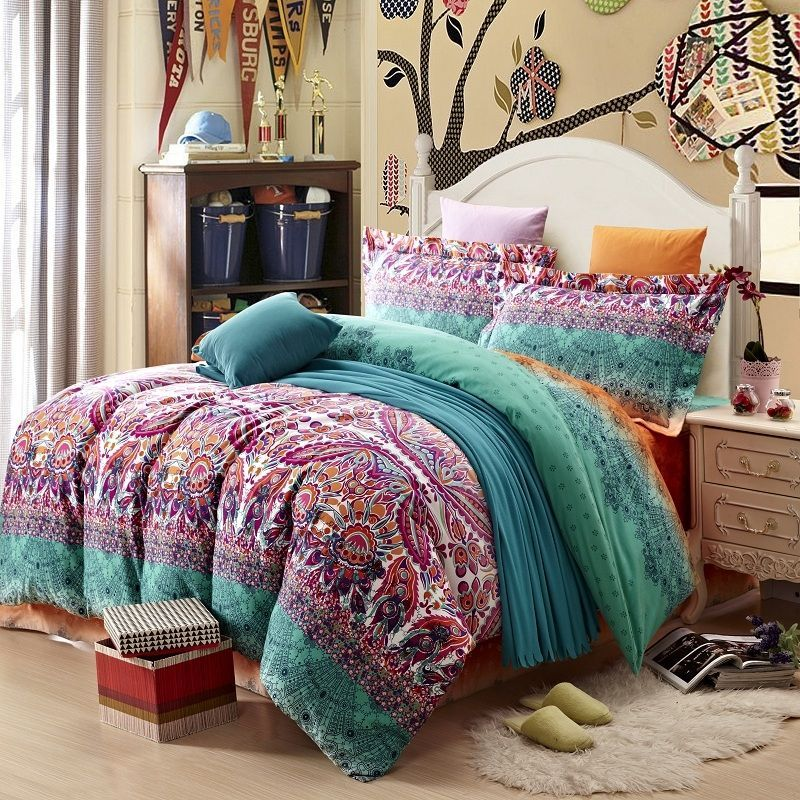 Teal Purple And Black Stripe And Bohemian Boho Style Western Tribal Print Abstract Design Ex Bedding Sets Bohemian Bedding Sets Bed Linens Luxury
