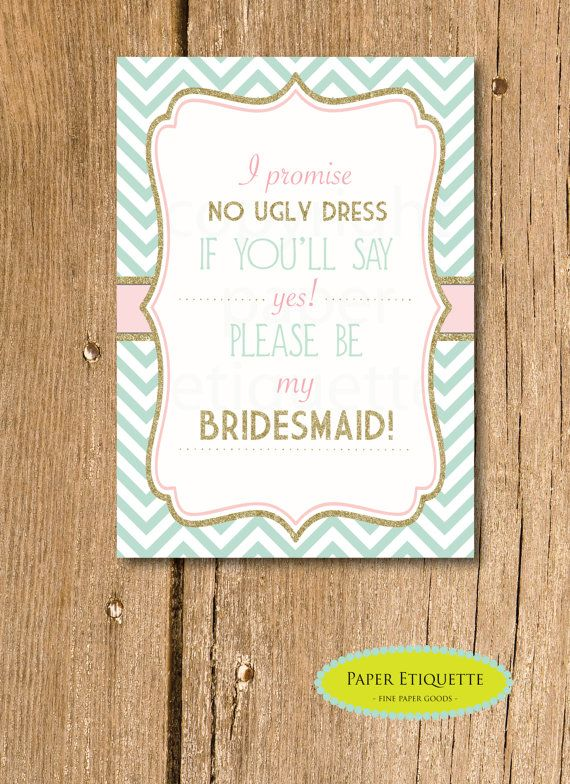 Will you be my bridesmaid 5 x 7 flat card i promise no ugly dress wedding will you be my bridesmaid 5 x 7 flat card i promise no ugly dress stopboris Gallery