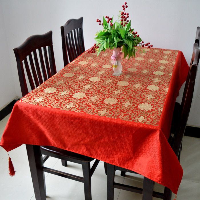 Dining Room Table Protector Pads Inspiration Mult Sizes Dobby Lucky Table Cloth High End Luxury Chinese Style Inspiration