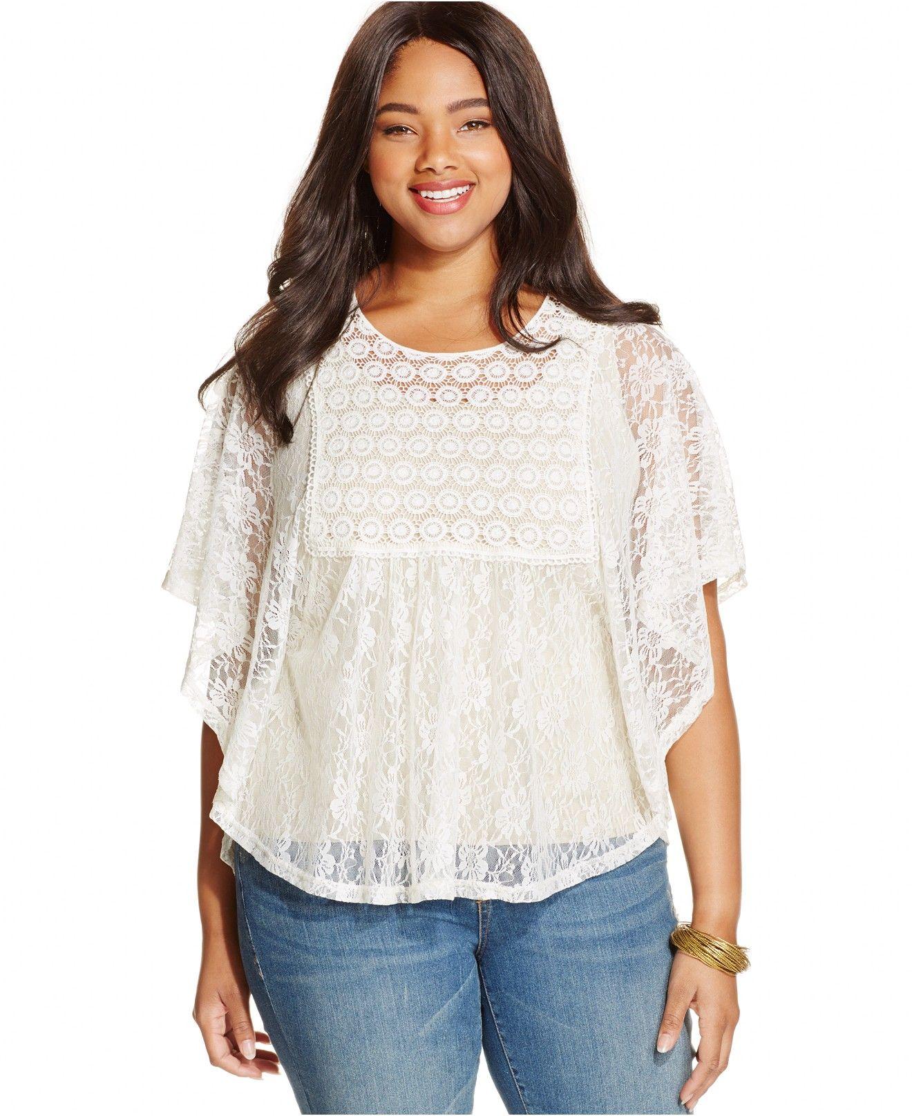 b8882ae049f72 Plus Size Cutout-Back Lace Poncho Top