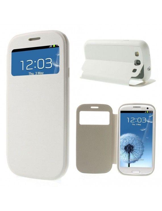 59f1d0cc39 Δερμάτινη Θήκη Βιβλίο Smart Cover με Βάση Στήριξης για Samsung Galaxy S3  I9300 - Λευκό