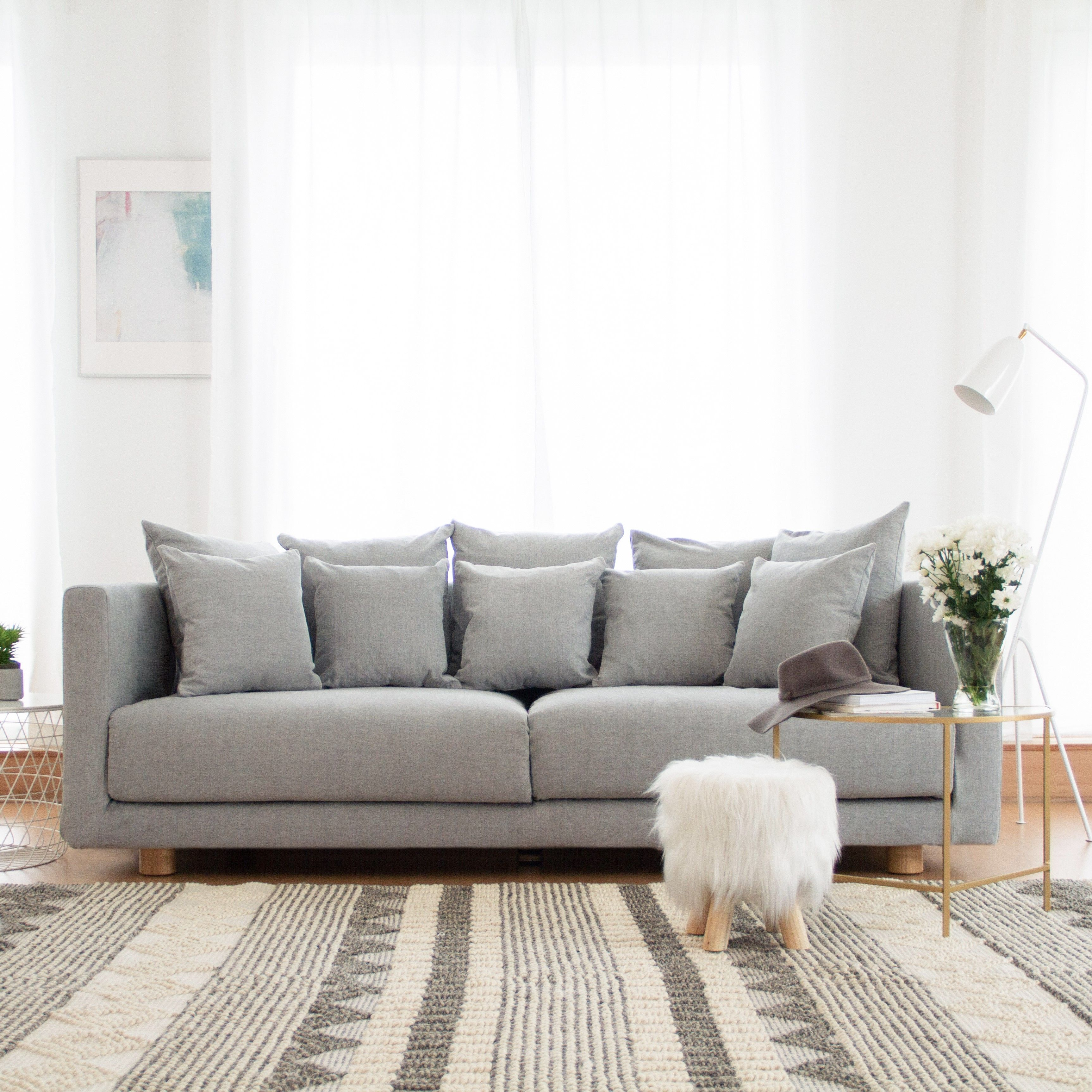 Ikea Stockholm Sofa In Madison Ash Premium Cotton Slipcovers By