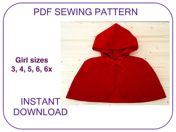 Hooded Cape Pattern Very Easy Pdf Sewing Pattern Little Red Riding Hood Cape Pattern For Girls Halloween Cape Pattern Christmas Carol Cape Hooded Cape Pattern Pdf Sewing Patterns Cape Pattern