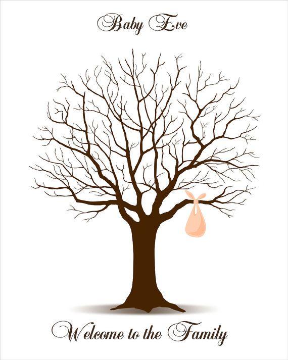 Baby Shower Guest Book Fingerprint Tree, Baby Shower Guestbook - guest book template