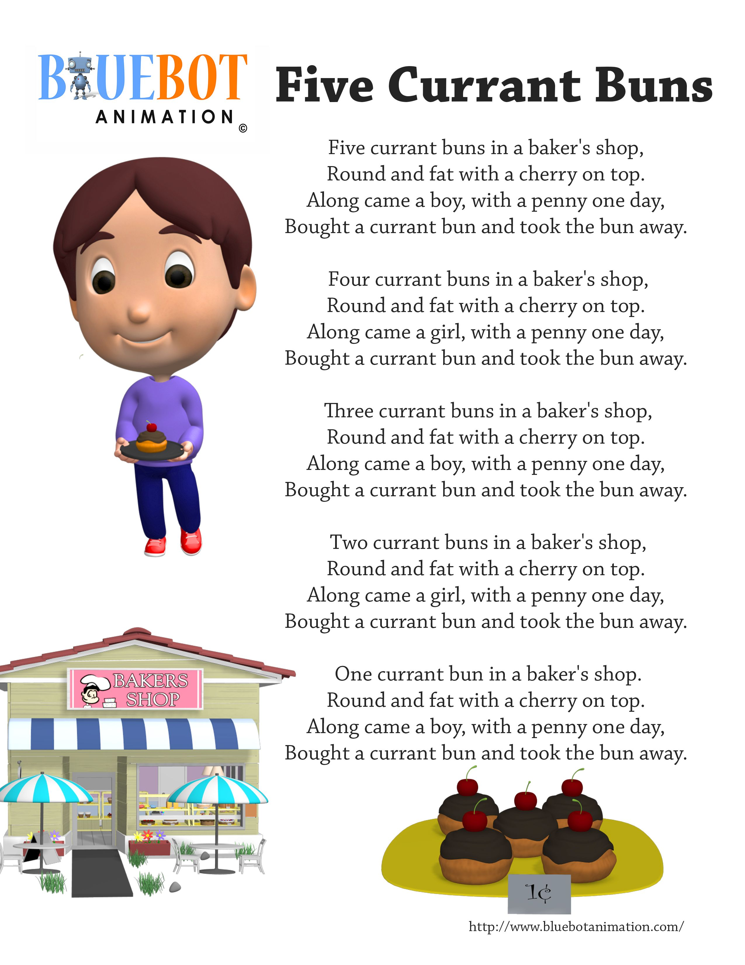 Five Currant Buns Nursery Rhyme Lyrics Free Printable