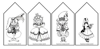 INSTaNT DOWNLoAD ALiCE In WoNDERLAND 5 Mini Gift Bag Templates FIVE Printable Sheet Downloads JPG Digital Files